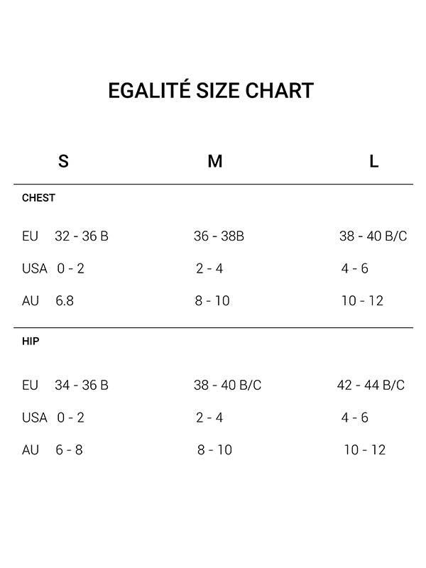 Egalité Swimwear size chart